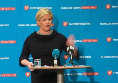 Siv Jensen leads the conservative Progress Party in addition to being Norway's finance minister. She's calling for tax cuts to ward off any economic crisis. PHOTO: Fremskrittspartiet