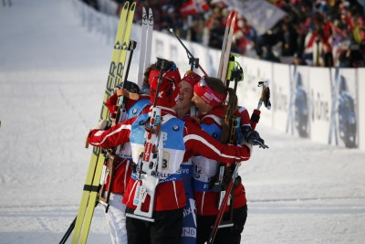 Norway's relay team rejoices after winning the gold medal at the World Championships at Holmenkollen in Oslo on Friday afternoon. PHOTO: Oslo2016/Eirin Roseneng