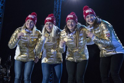 The Norwegian women's team had won championship gold the day before, too. From left: Marte Olsbu, Tiril Eckhoff, Fanny Horn Birkeland and Synnøve Solemdal. PHOTO: Oslo2016/Eirin Roseneng