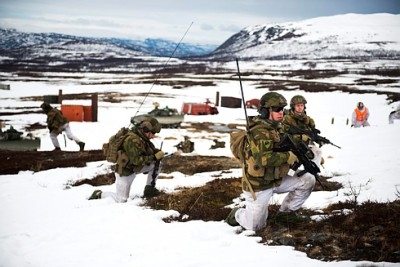 Soldiers from Norway's armored battalion training in Porsangermoen this month. PHOTO: Forsvaret/Frederik Ringnes