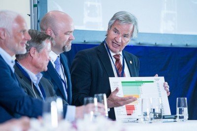 The founder and CEO of Norwegian Air, Bjørn Kjos (right), also took part in the conference, but didn't get a chance to speak with Foxx. PHOTO: Samferdselsdepartementet