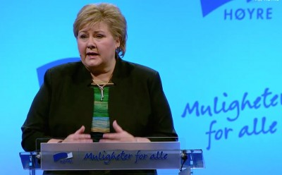 "Prime Minister Erna Solberg opened the largest annual meeting of her Conservative Party ever on Friday. Before that, she lashed out at ""unethical"" practices by some of Norway's biggest banks. PHOTO: Høyre"