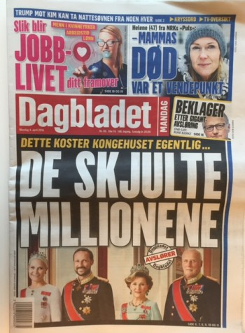 """Dagbladet devoted most of its front page to its stories about """"the hidden millions"""" that the royal family costs. PHOTO: newsinenglish.no"""