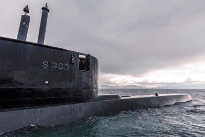 The submarine KNM Utvær, on patrol off Northern Norway. PHOTO: Petter Brenni Gulbrandsen