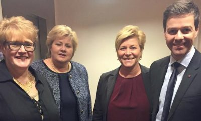 These four party leaders need to agree on a new state budget for 2017. From left, Trine Skei Grande of the Liberals, Prime Minister Erna Solberg of the Conservatives, Finance Minister Siv Jensen of the Progress Party and Knut Arild Hareide of the Christian Democrats. PHOTO: Høyre