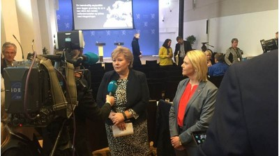 "Prime Minister Erna Solberg and Immigration Minister Sylvi Listhaug presented what they call a ""strict and fair"" asylum policy that's necessary in order to integrate refugees. It did not get a warm reception. PHOTO: Statsministererns kontor"