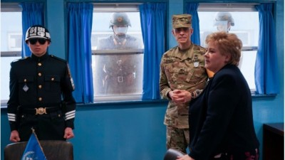 "Solberg also had what she called a ""strange"" feeling as North Korean soldiers stared and took photos through windows when she visited the demilitarized zone at the border to North Korea. PHOTO: Statsministerens kontor"