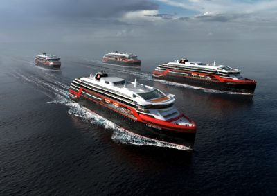 Hurtigruten is also investing in new vessels, ordering these earlier this yeer. ILLUSTRATION: Hurtigruten/Rolls-Royce