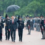 Poland's president, Andrzej Duda, arrived in pouring rain on Monday, making his welcome ceremony on the grounds of the royal palace a very wet affair. PHOTO: Kongehuset.no/NTB Scanpix/Lise Åserud
