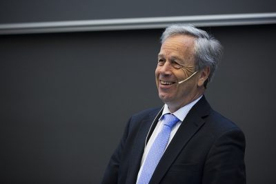 Øystein Olsen has been reappointed as governor of Norway's central bank, Norges Bank. He was also celebrating the 20th anniversary of the Oil Fund on Tuesday and will be celebrating the 200th anniversay of the central bank itself through June. PHOTO: Norges Bank/Nils S Aasheim