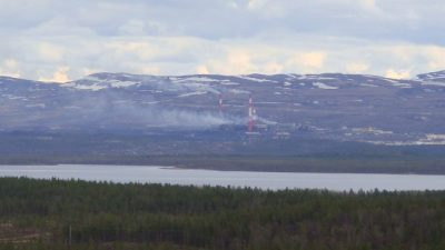 This photo of the smelter at Nikel was taken from the Norwegian side of the border in May. The pollution got worse in July. PHOTO: newsinenglish.no