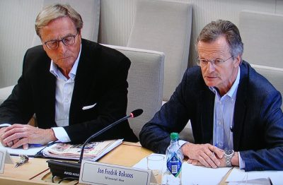 Telenor's former chairman Svein Aaser (left) and CEO Jon Fredrik Baksaas had more explaining to do on Friday over how they handled the corruption at Telenor's partly owned VimpelCom. PHOTO: NRK screen grab/newsinenglish.no
