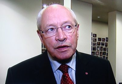 Committee leader Martin Kolberg, shown here being interviewed by NRK Friday evening, has been under severe pressure from Norwegian business leaders for pursuing the Telenor corruption case so vigorously. Kolberg responded that he would only back off if the Parliament rescinded its declaration of zero tolerance for corruption. PHOTO: NRK screen grab/newsinenglish.no