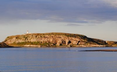 The island of Hornøya, as seen from Vardø in the midnight sun last week. This photo was taken at around 10pm. PHOTO: newsinenglish.no