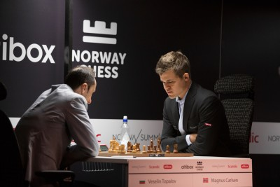 Magnus Carlsen, shown here playing against Veselin Topalov, ended up winning the Norway Chess tournament for the first time. PHOTO: Altibox Norway Chess/Joachim Steinbru