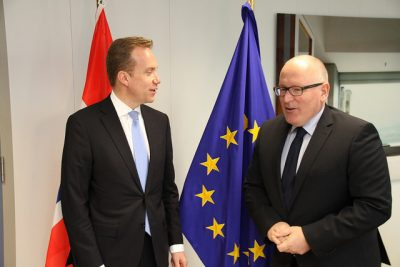 Brende doesn't want to do anything that might jeopardize Norway's own deal with the EU. Brende, shown here with Frans Timmermans of the EU Commission at a meeting in March, wants to maintain good relations with the EU. PHOTO: Utenriksdepartementet/Frode Overland