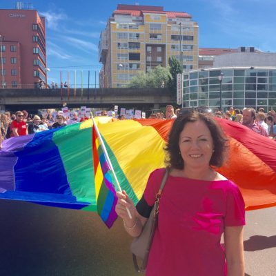 Government minister Solveig Horne was among those leading the Pride Parade , which began here in Oslo's Grønland district. PHOTO: Barne- og likestillingsdepartementet