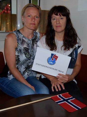 """Cecilie Myhre (left) and Donna Fox are spearheading a campaign to overturn Norway's ban on dual citizenship. They claim """"huge momentum"""" is building as they await a government evaluation of the issue this fall. PHOTO: newsinenglish.no/Nina Berglund"""