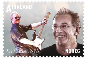 Norwegian singer and rock musician Åge Aleksandersen has been featured on a stamp in Norway. On Friday he fulfilled a life-long dream by performing at Royal Albert Hall in London. PHOTO: Posten Norge