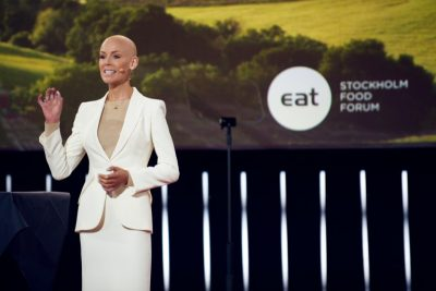 Gunhild Stordalen defied doctors' orders to open her EAT organization's annual Food Forum in Stockholm on Monday. She's spearheading a global campaign to improve food production, quality and distribution. PHOTO: EAT Forum