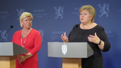 Solberg and Finance Minister Siv Jensen also claimed on Friday that both they and Norwegian authorities would be following Brexit developments closely. Jensen said Norwegian banks were solid and could tolerate current turbulence. PHOTO: Statsministerens kontor