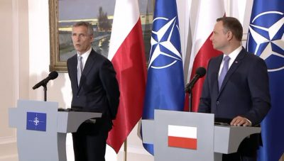 Poland was the first country Jens Stoltenberg visited after taking over as secretary general of NATO and it's now where he'll be leading his first NATO summit this weekend. He was welcomed to Warsaw Thursday night by Poland's president, Andrzej Duda (right). PHOTO: NATO
