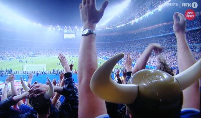 Even when the score was 4-0 in France's favour, Iceland's enthusiastic and proud football fans kept cheering, especially after Iceland scored in the second half. Norwegian Broadcasting (NRK) carried the match live, and attracted another huge audience after 1.2 million Norwegians watched Iceland's earlier match against England. PHOTO: NRK screen grab/newsinenglish.no