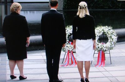 Prime Minister Erna Solberg, Crown Prince Haakon and Crown Princess Mette Marit laid down wreaths at the morning memorial ceremony for the victims of Norway's terrorist attacks five years ago, PHOTO: NRK screen grab/newsinenglish.no