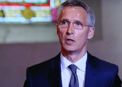 Former Norwegian Prime Minister Jens Stoltenberg spoke at memorial services in Oslo to commemorate the terrorist attacks on his government five years ago. He claims Norway's determination to remain a free and open society marks a victory over the attacks, no matter how painful they were. Stoltenberg is drawing on lessons learned from the attacks in his current job as secretary general of NATO. PHOTO: NRK screen grab/newsinenglish.no