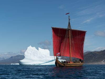 The Draken Harald Hårfagre in calmer seas on its way to North America. PHOTO: Draken Expedition America