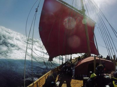 The Viking ship Draken Harald Hårfagre ran into stormy seas off Greenland, but is now facing a possibly more serious financial storm, after failing to budget for USD 430,000 in piloting fees. PHOTO: Draken Expedition America