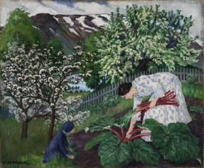 Astrup's depiction of his wife Engel and one of ther eight children picking rhubarb in another classic motif in Norway, that's winning attention abroad. PHOTO: Dag Fosse/Kode