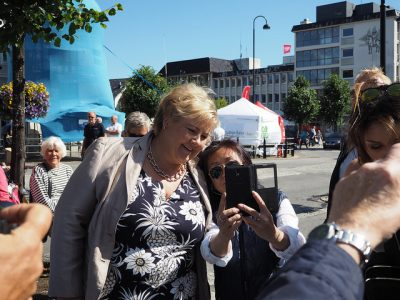 The annual event in Arendal known as Arendalsuka is best known for allowing public access to top politicians, business leaders and the heads of a wide variety of organizations. Here, Prime Minister Erna Solberg posed for a selfie as she strolled around Arendal last year. PHOTO: Arendalsuka
