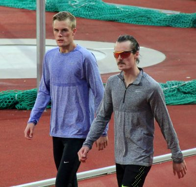 Filip Ingebrigtsen (left), shown here with his brother Henrik at Bislett in Oslo, made a very bad move in the men's 1,500-meter race at the Olympics and ended up being disqualified. PHOTO: Wikipedia