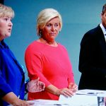 Prime Minister Erna Solberg (far left) is determined to retain government power through her cooperation with (from right) party leaders Trine Skei Grande of the Liberals, Knut Arild Hareide of the Christian Democrats and Siv Jensen of the Progress Party. PHOTO: NRK screen grab/newsinenglish.no