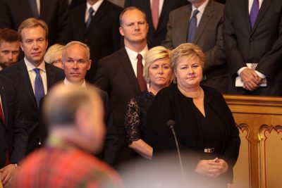 Prime Minister Erna Solberg (right) and her fellow ministers have to fight hard over the next several months to remain standing at the opening of Parliament next year. PHOTO: Stortinget