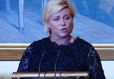 Finance Minister Siv Jensen presenting the government's state budget proposal for 2017 in Parliament on Thursday. Once again, Norwegian Broadcasting (NRK) carried it live on national television. PHOTO: NRK screen grab/newsinenglish.n
