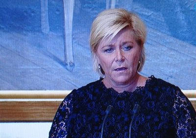 Finance Minister Siv Jensen, who recently presented and finally won approval for the state budget in Parliament, has now turned her attention to Nroway's high housing prices and rising debt levels. PHOTO: NRK screen grab/newsinenglish.no