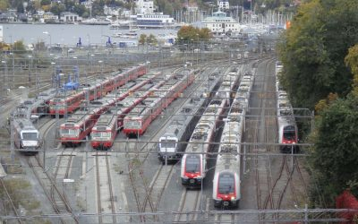 "There were plenty of idled trains at NSB's ""parking lot"" at Filipstad Monday morning. PHOTO: newsinenglish.no"