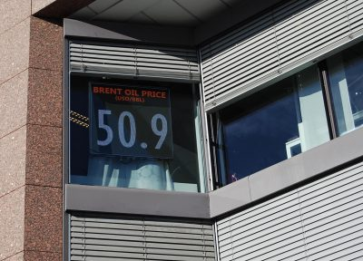 The price of a barrel of Norway's North Sea crude oil broke through the USD 50 mark this week, as displayed here in the window of an Oslo energy firm. It kept rising, passing USD 51 on Tuesday, and that's good news for the Norwegian economy as it recovers from the oil price dive two years ago. PHOTO: newsinenglish.no