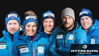 Members of Norway's national alpine ski team in happier days: Henrik Kristoffersen is in the middle. Next to him is Aksel Lund Svindal wearing the kind of Red Bull cap Kristoffersen wants to wear as well. PHOTO: Norges Skiforbundet