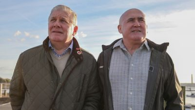 James Baker (left) and Patrick Stevens were among the pioneering North Sea divers who helped establish Norway's oil industry. After years of trying to obtain compensation for how the diving damaged their health, they're now suing the state, represented by a Norwegian attorney who's able to take the case all the way to Norway's Supreme Court. PHOTO: XXX
