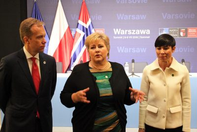 Norway's government is most worried about how a Trump Administration in the US will affect defense, trade, Russian, climate and Arctic issues. Foreign Minister Børge Brende (left), shown here with Prime Minister Erna Solberg (center) and Defense Minister Ine Eriksen Søreide at the last NATO summit in Warsaw, spoke out late this week about his concerns for trade deals. PHOTO: Utenriksdepartementet