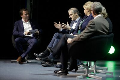 "Marius Holm (left) also challenged Norwegian politicians including Labour Party leader Jonas Gahr Støre and Prime Minister Erna Solberg, over what he calls ""risky"" investment in the oil industry as demand for fossil fuels declines. PHOTO: ZERO Emission Resource Organisation"