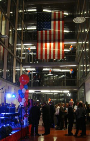 Flags and balloons decorated a hall at the Høgskolen i Oslo og Akershus, which hosted the US Election Night festivities. The rector of the school, called the Oslo and Akershus University College of Applied Sciences, is also an American, Curt Rice. PHOTO: newsinenglish.no