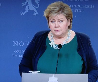 Norwegian Prime Minister Erna Solberg held a nationally televised press conference shortly after US President-Elect Donald J Trump delivered his victory speech after one of the most divisive and bitter election campaigns ever. She congratulated Trump and can now only hope for the best. PHOTO: NRK screen grab/newsinenglish.no