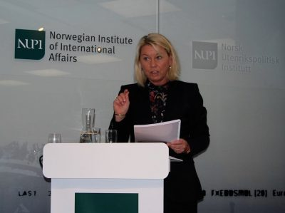 Monica Mæland, Norway's government minister in charge of business and trade, was handed NUPI's report on TTIP but refused to take any position on its prospects, as least not yet. PHOTO: newsinenglish.no/Nina Berglund