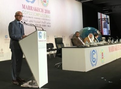 Norway's Climate and Environment Minister Vidar Helgesen adressing the climate conference in Marrakech that ended over the weekend. PHOTO: KMD/Jon Berg