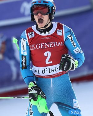 Henrik Kristoffersen posted this photo of himself reacting to his first World Cup slalom victory this season, which got off to a bad start because of a conflict with Norwegian skiing officials. Kristoffersen wants to be able to sport a Red Bull logo on his helmet, instead of the team's main sponsor Telenor. After officials wouldn't allow it, Kristoffersen took them to court. PHOTO: Facebook