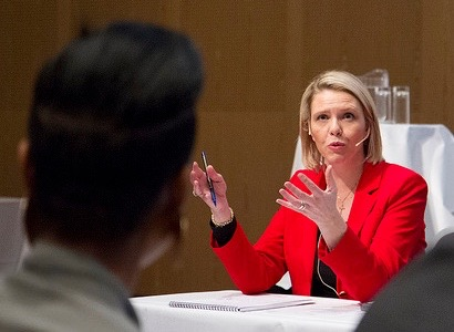 Immigration Minister Sylvi Listhaug, shown here addressing representatives of immigration organizations, often grabs headlines with her language that many consider more divisive than inclusive. PHOTO: Justis- og beredskapsdepartementet